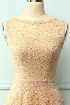Lace Champagne Formal Dress