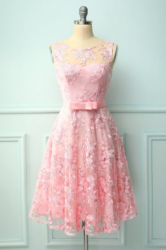 Pink Lace Dress with Bow