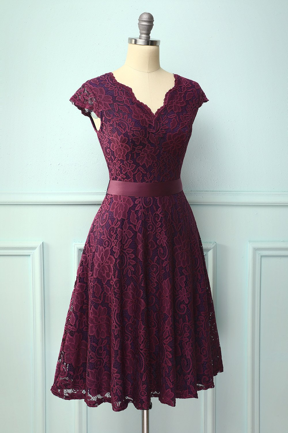 Grape Lace V-neck Dress