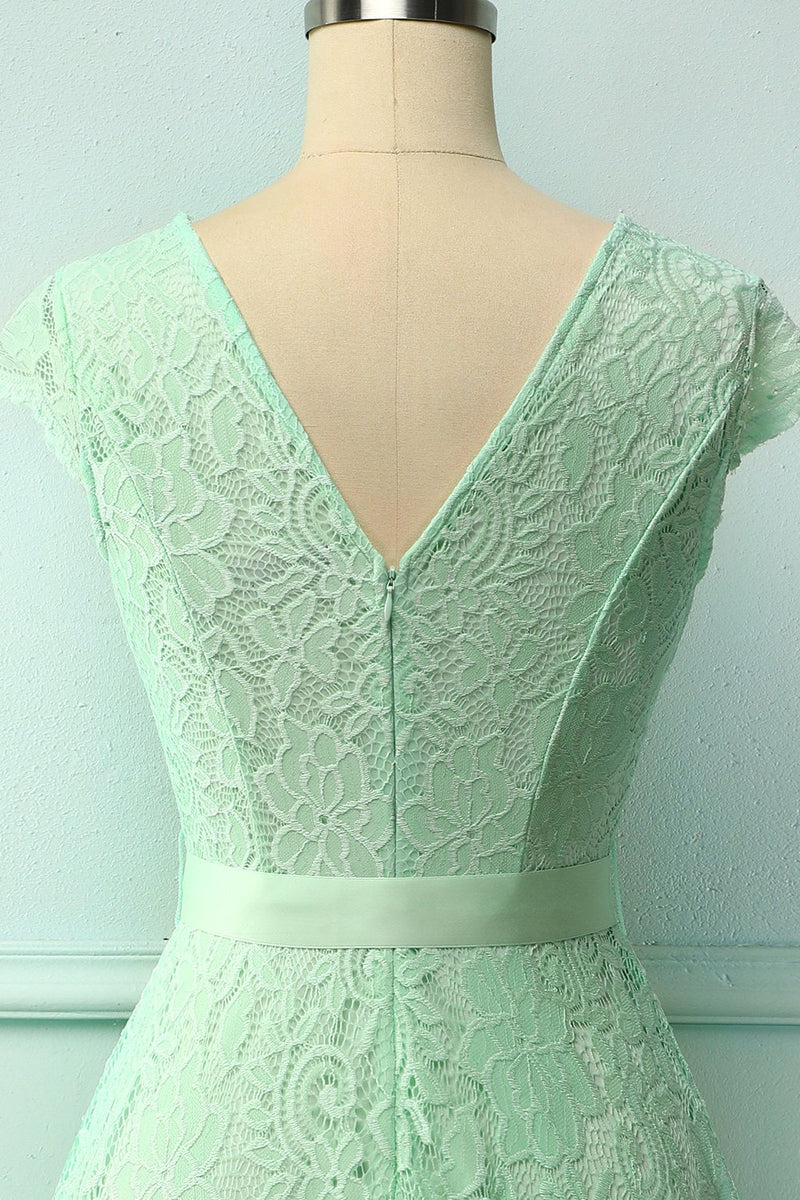 Load image into Gallery viewer, Mint Lace V-neck Dress