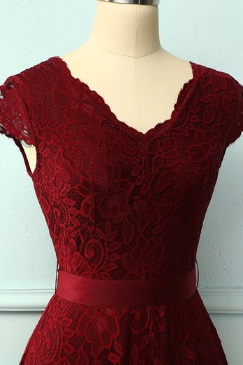 Burgundy Lace V-neck Dress