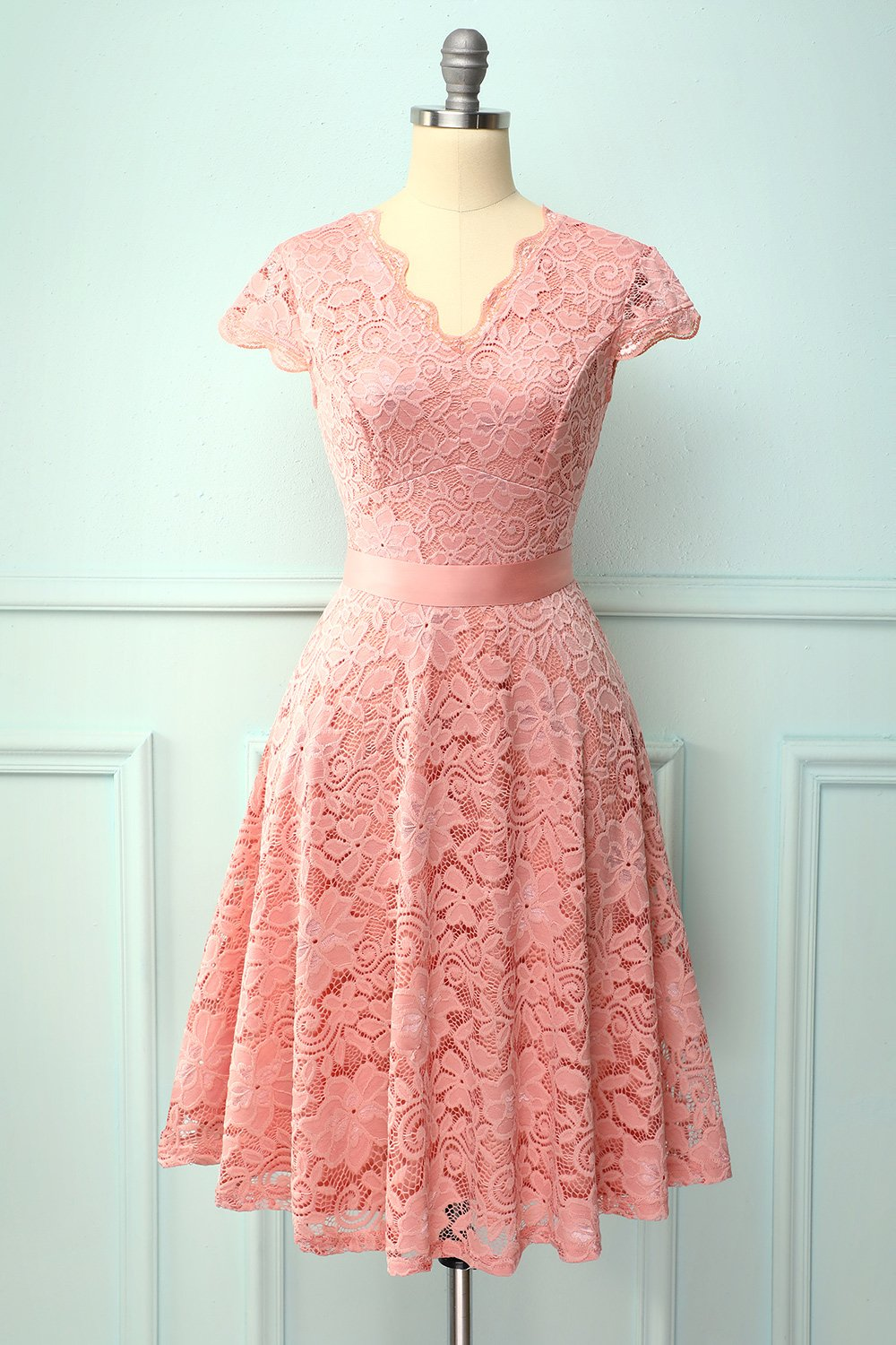 Blush Lace V-neck Dress