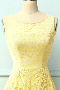 Asymmetrical Yellow Lace Dress