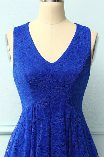 Asymmetrical Royal Blue Lace Dress