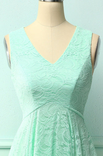 Mint Asymmetrical Lace Dress