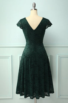 Dark Green V Neck Midi Lace