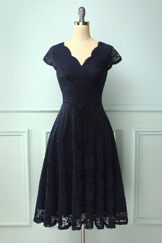 Navy V Neck Midi Lace