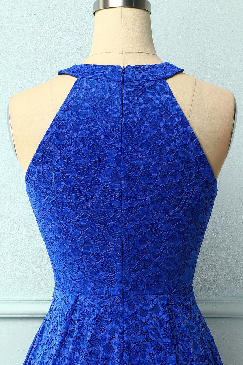 Load image into Gallery viewer, Royal Blue Halter Lace Midi