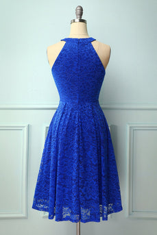 Royal Blue Halter Lace Midi