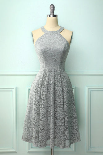 Grey Halter Lace Midi