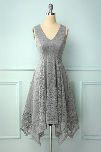 Asymmetrical Grey V-neck Lace Dress