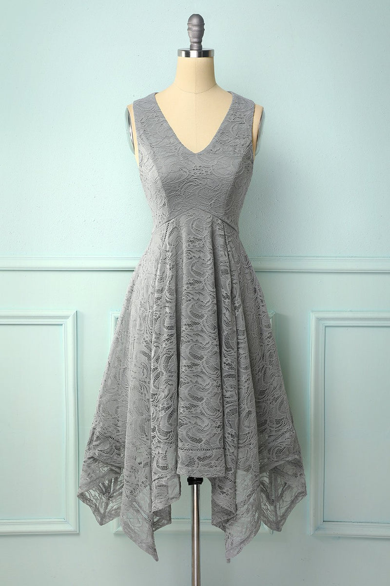 Load image into Gallery viewer, Asymmetrical Grey V-neck Lace Dress