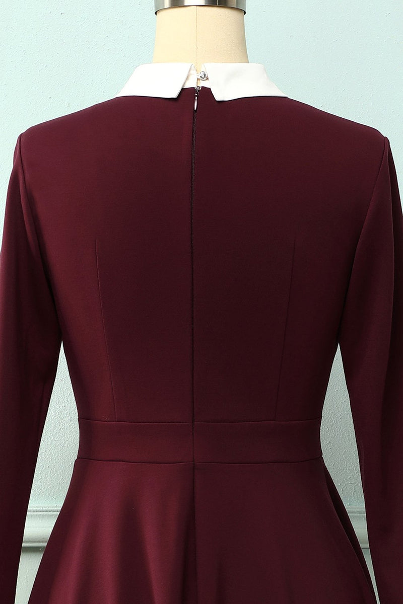 Load image into Gallery viewer, Burgundy Cotton Casual Dress