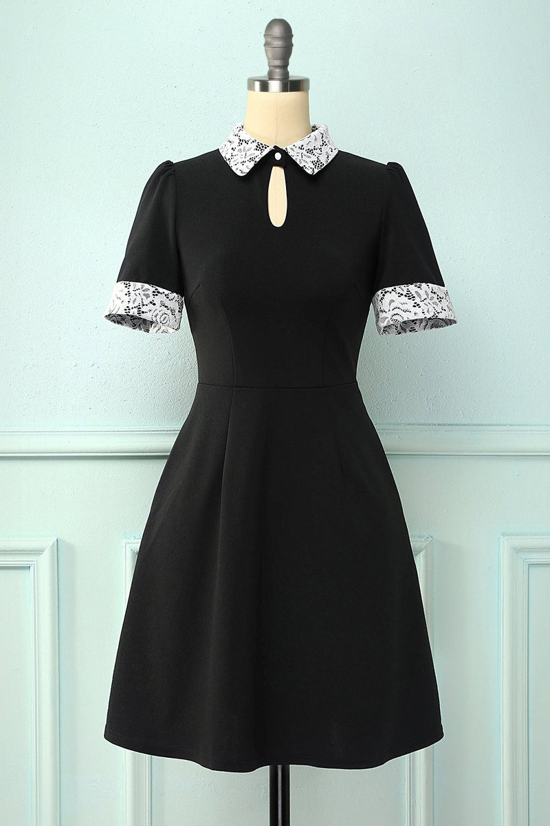 Load image into Gallery viewer, Black Lapel Collar Dress with Pockets