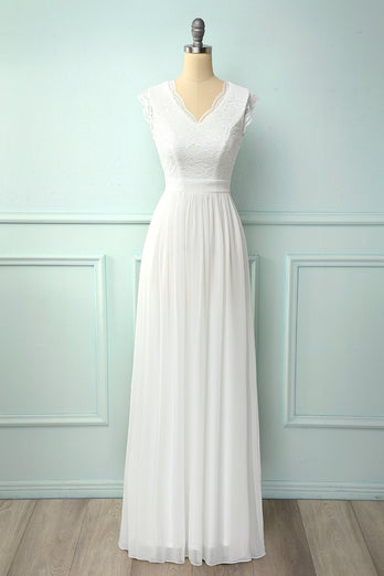 V-neck White Long Bridesmaid Dress