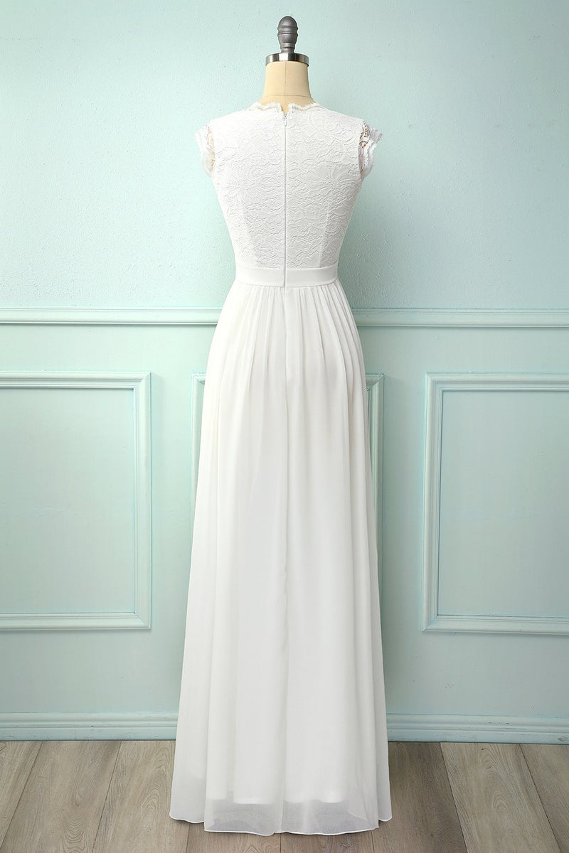 Load image into Gallery viewer, V-neck White Long Bridesmaid Dress
