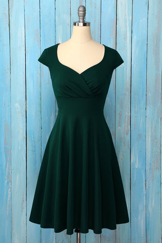Drak Green Solid Homecoming Dress
