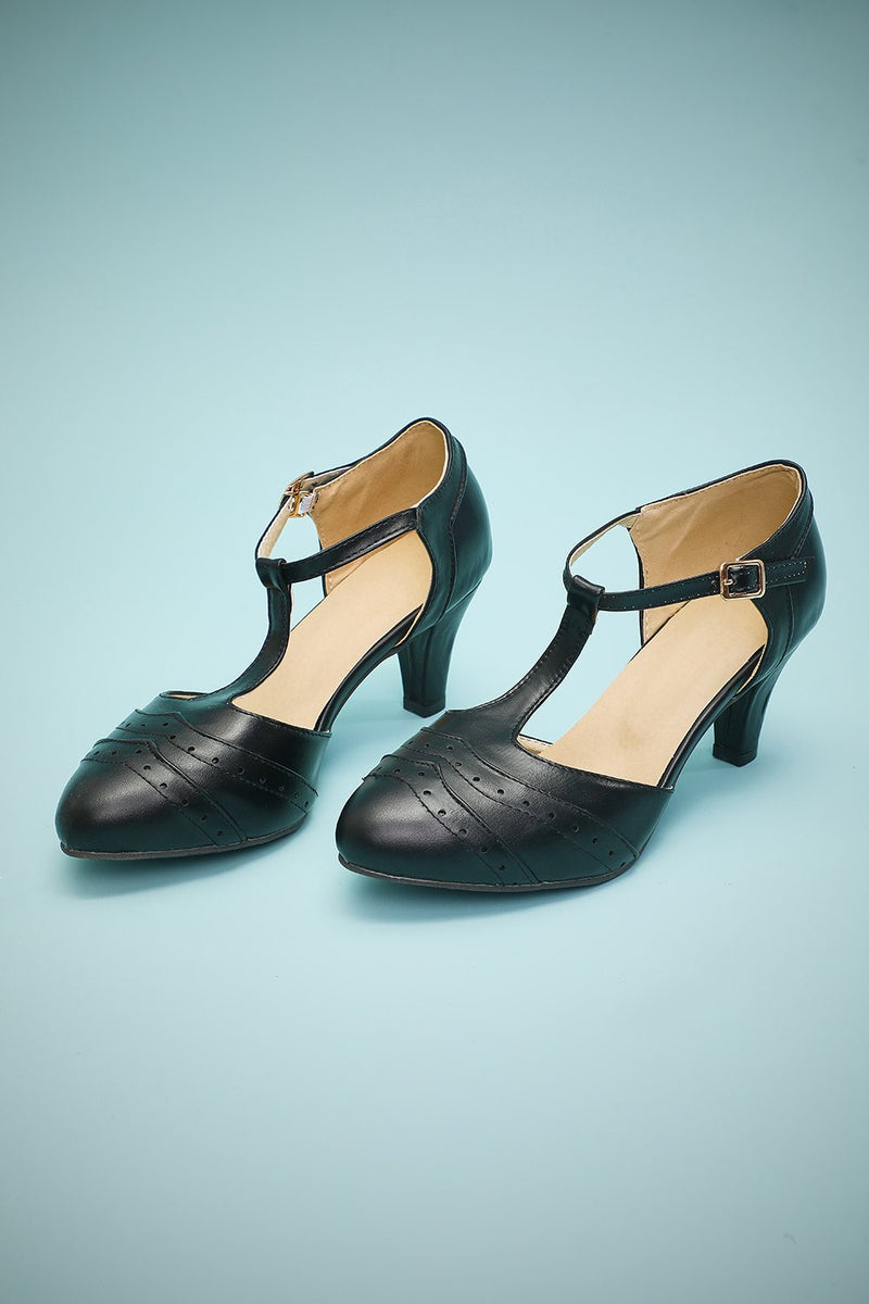 Black Leather Pointy Heels Shoes