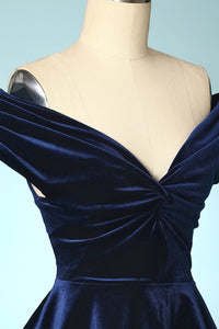 Navy Blue Velvet Cropped Tops