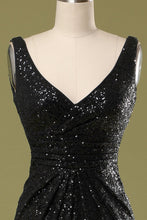 Load image into Gallery viewer, Long Black Sequins Dress