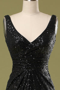 Long Black Sequins Dress