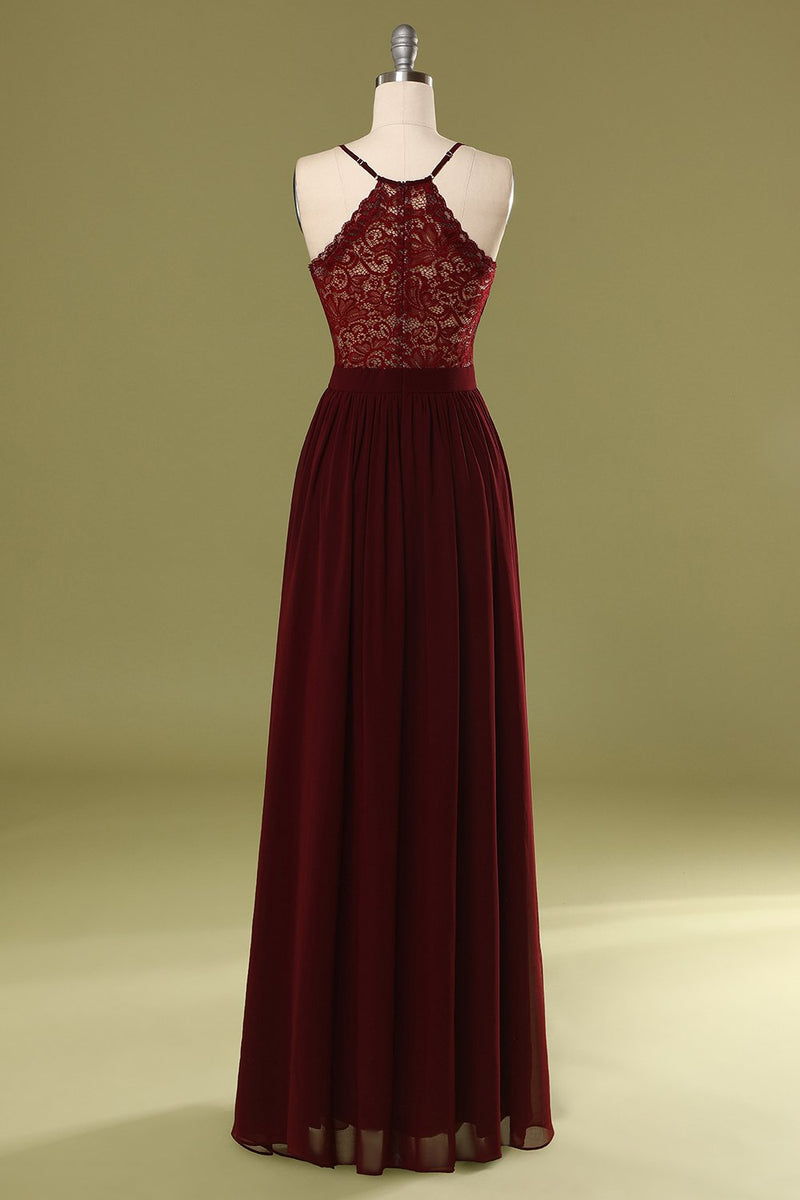 Load image into Gallery viewer, Simple Burgundy Long Bridesmaid Dress