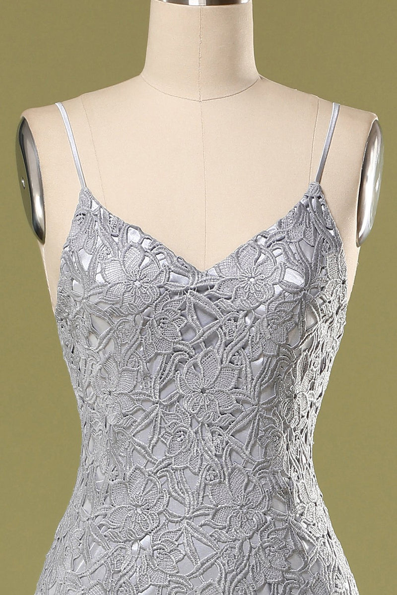 Load image into Gallery viewer, Grey Lace Bodycon Cocktail Dress