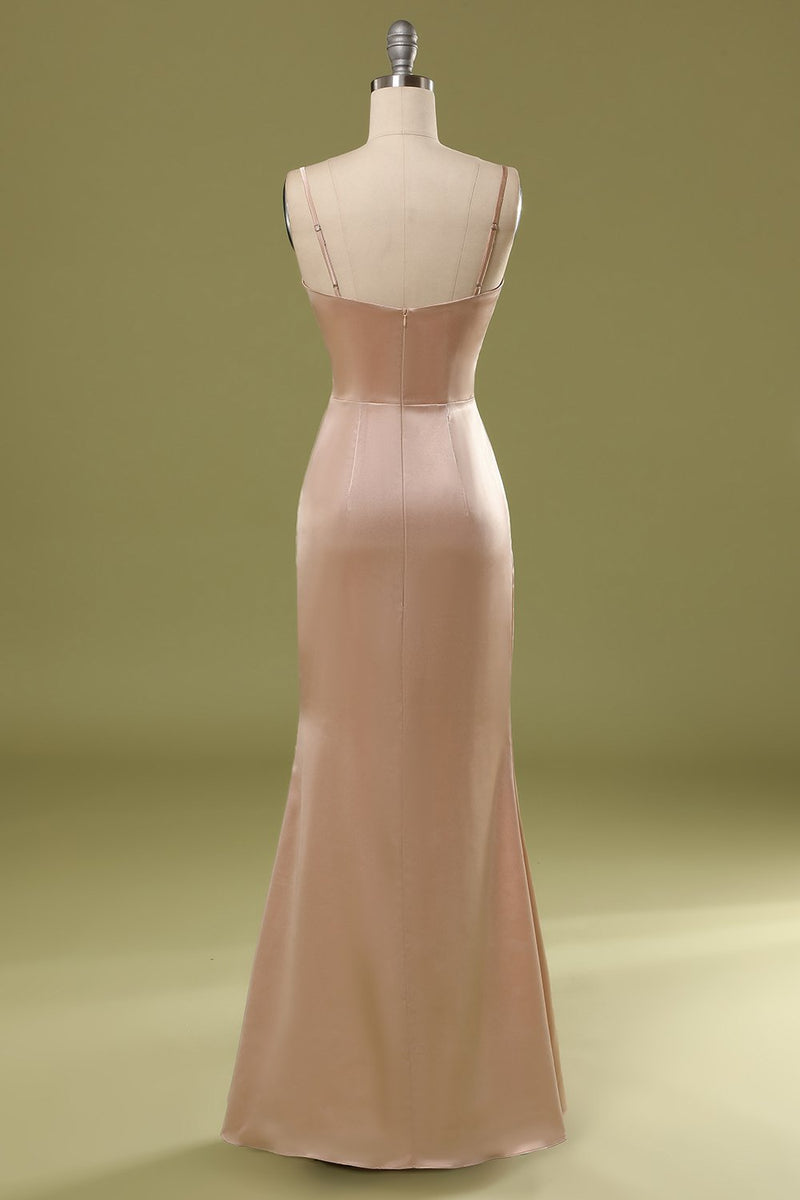 Load image into Gallery viewer, Champagne Satin Dress
