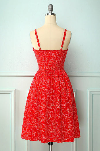 Vintage Red Floral Dress With Button