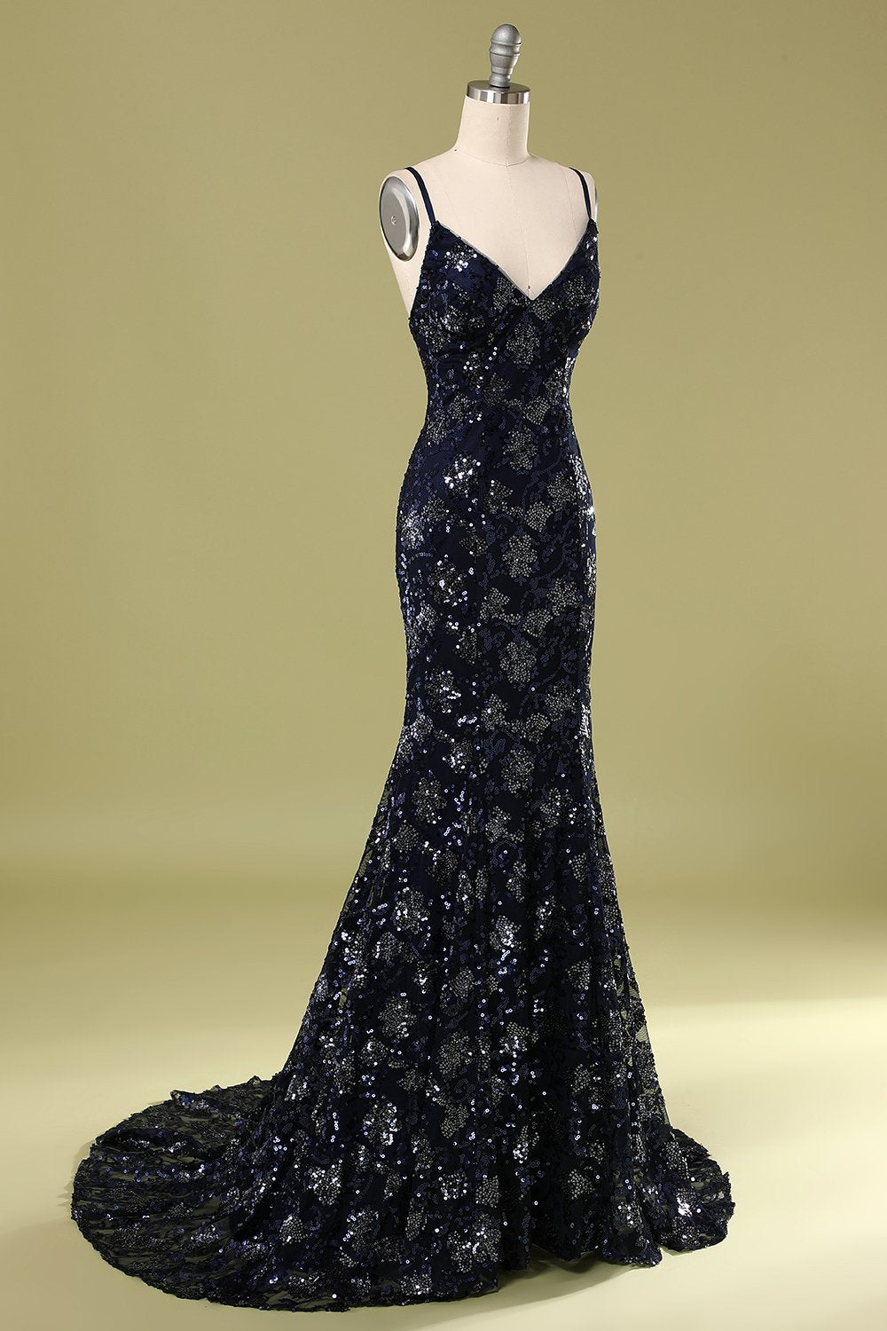 Navy Evening Dress with Beading Sequins