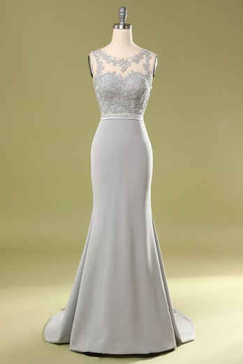 Grey Appliques Bridesmaid Dress