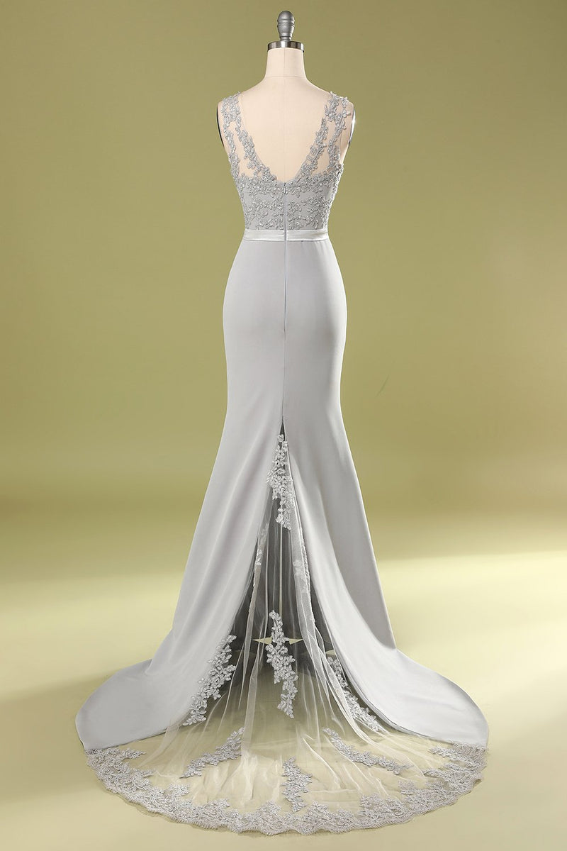 Load image into Gallery viewer, Grey Appliques Bridesmaid Dress