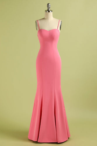 Coral Spaghetti Straps Prom Dress