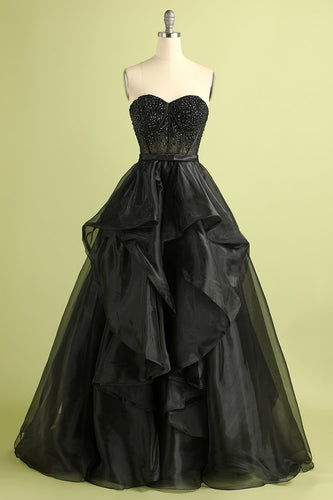 Black Strapless Ball Gown Evening Dress