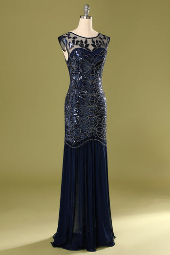 Navy 1920s Sequined Flapper Dress