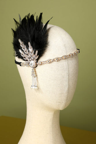 Black Beaded Feather Pearl 1920s Flapper Headband
