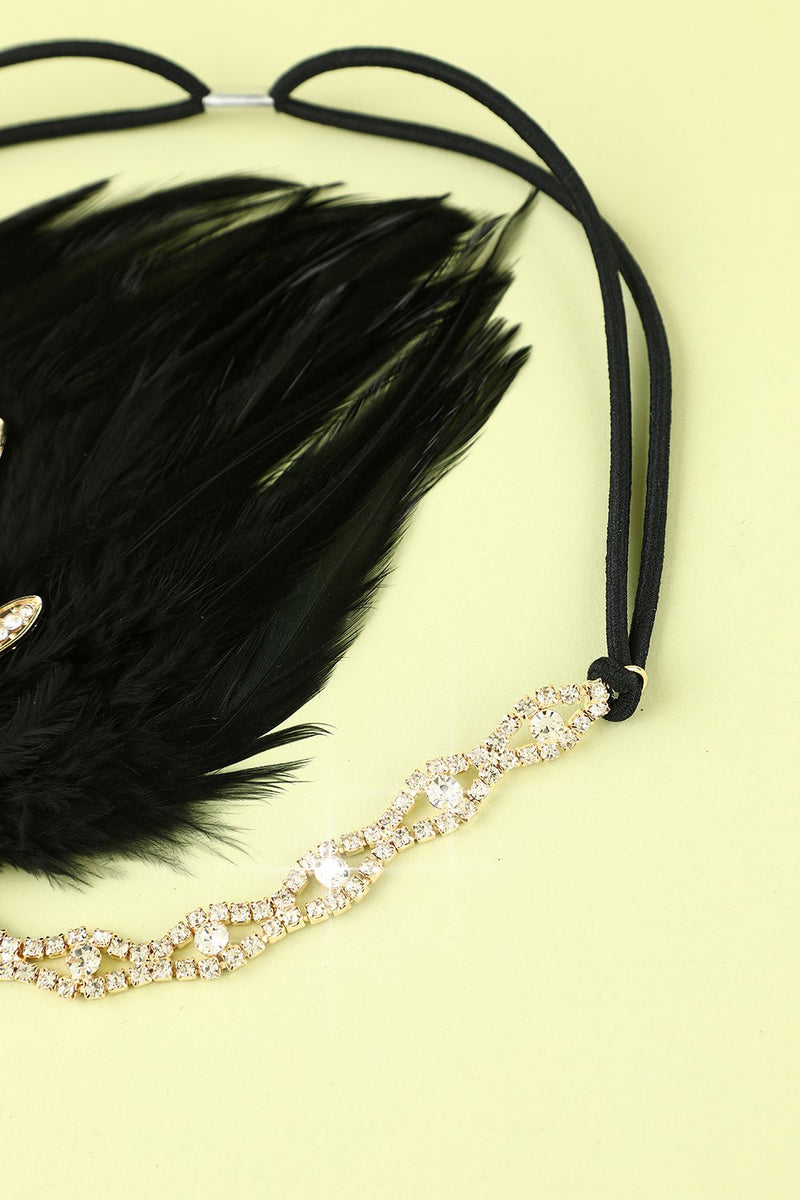 Load image into Gallery viewer, Black Beaded Feather 1920s Flapper Headband