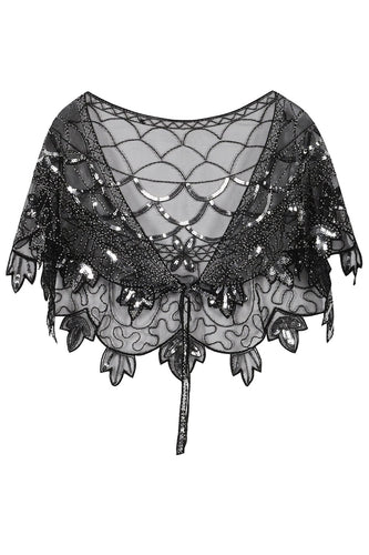 1920s Black Flower Sequin Women Cape