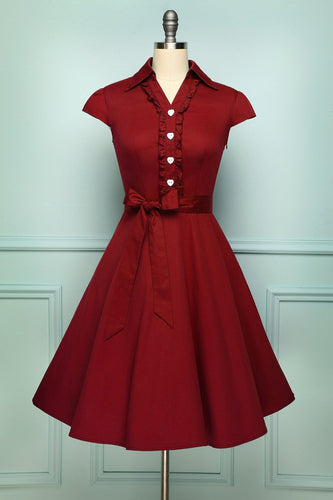 1950s Dark Red Swing Dress