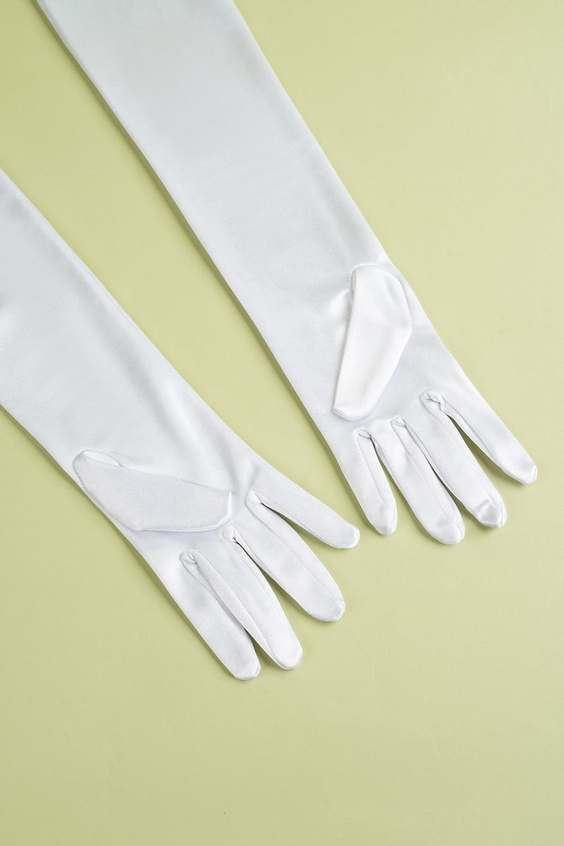 Load image into Gallery viewer, White 1920s Party Lengthen Gloves