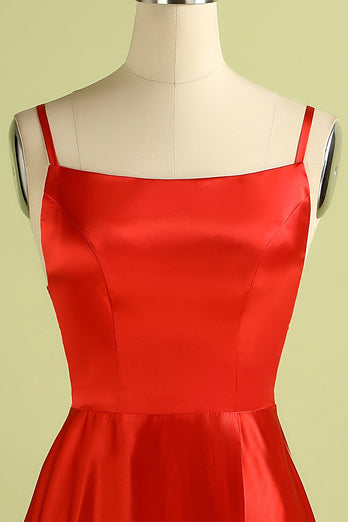 Red Backless Satin Dress
