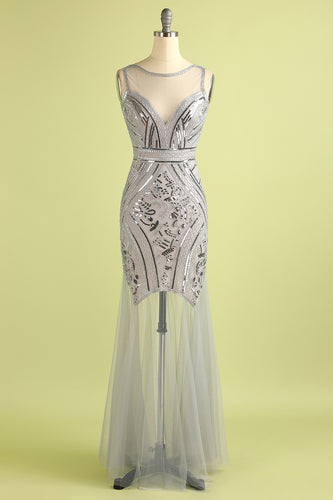 Sequin Long Tulle 1920s Dress
