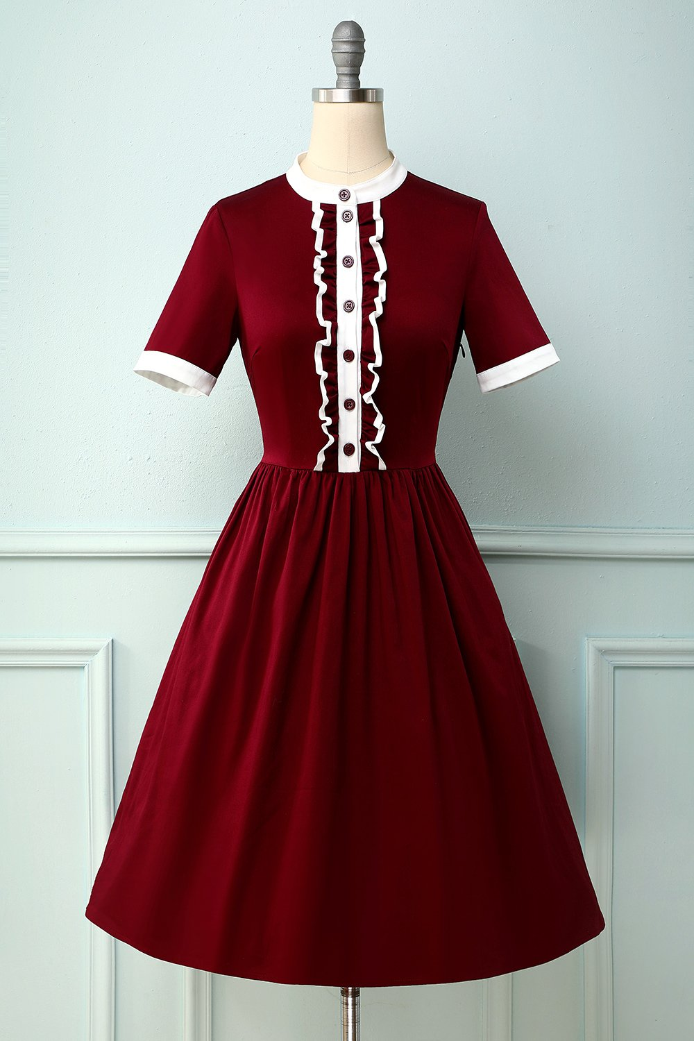 Burgundy Jewel Half Sleeves 1950s Dress