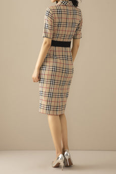 Vintage Lapel Collar Plaid Bodycon Dress