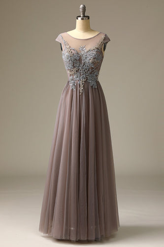 Appliques Grey Prom Dress