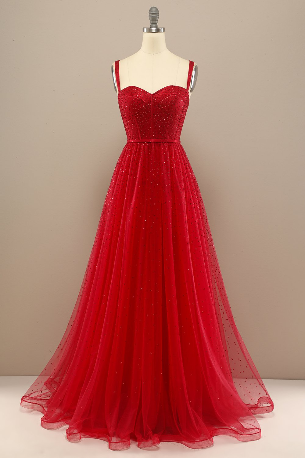 Red Sweetheart Beading Prom Dress