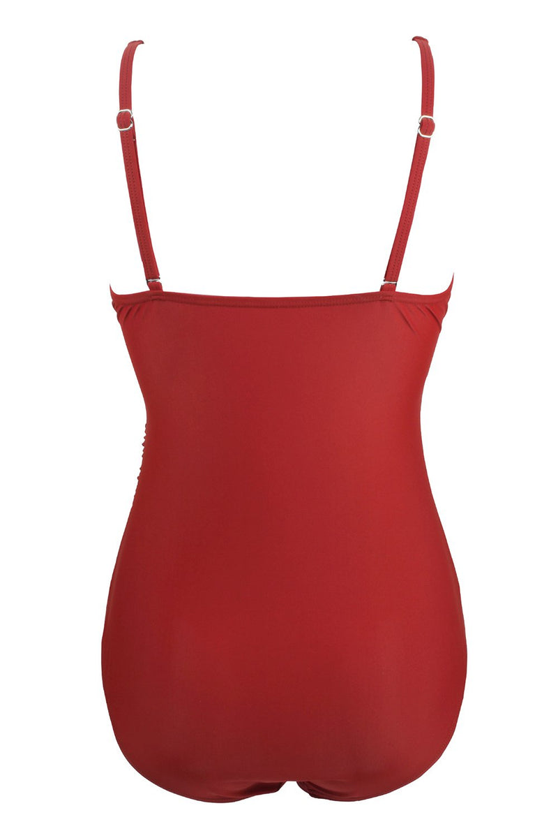 Load image into Gallery viewer, Dark Red One Piece Swimsuit