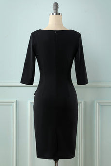 Black Long Sleeves Bodycon Dress
