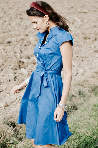 Button Up Royal Blue Dress