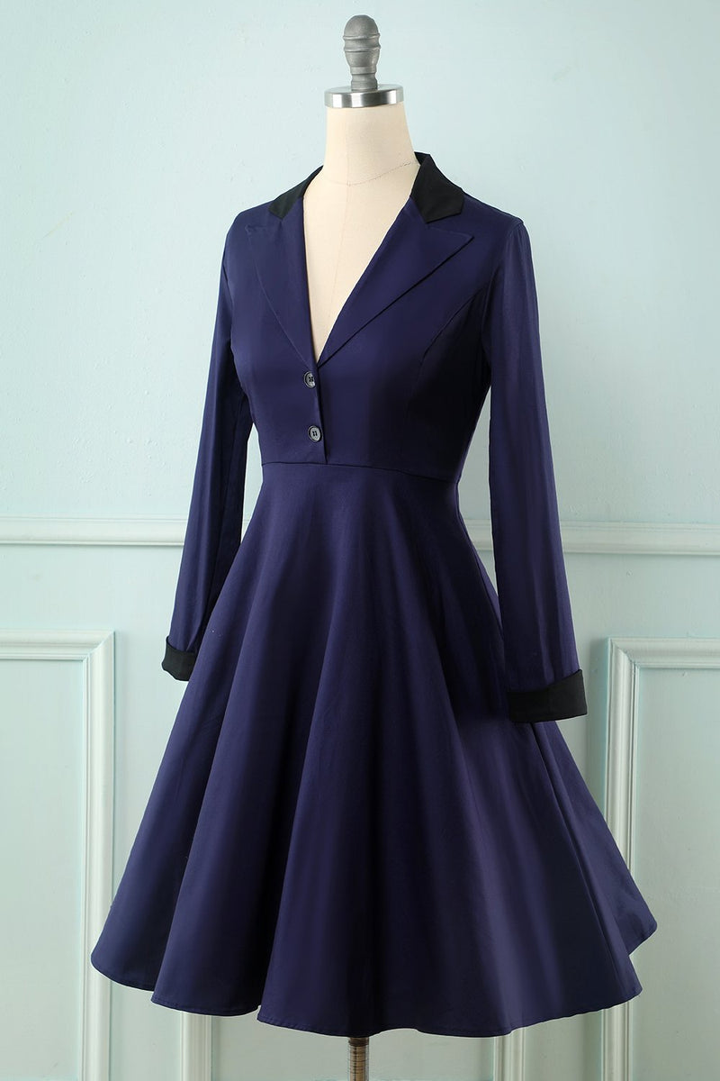 Load image into Gallery viewer, Navy Long Sleeves Swing Dress
